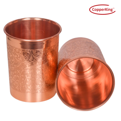 CopperKing Pure Copper Embossed Design Glass Set Of 2