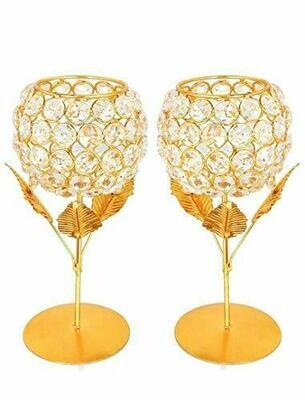 Rose Design Diamond Crystal Brass Candle Holder Diya/Lamp