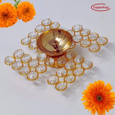 Swastik Symbol Crystal Akhand Jyoti Brass Diya, Oil Puja Lamp.