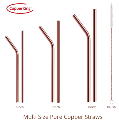 CopperKing Pure Copper Straw 6pcs Set | Best Drinking Experience.