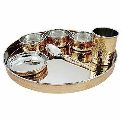 STEEL COPPER BHOJAN THALI 7PCS FULL Tableware Bhojan Thali Set