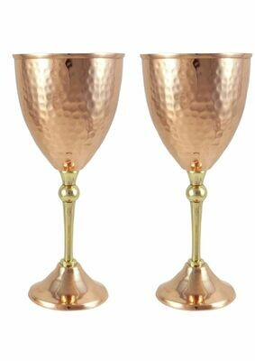 Pure Copper & Brass Water/Wine Goblet 250ml.Set Of 2.