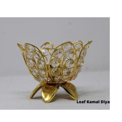 Kamal Designed Crystal Akhand Jyoti Brass Diya (Leaf)