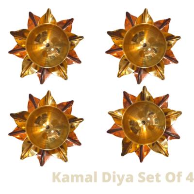 Pure Copper And Brass Kamal Akhand Jyoti Diya. Set Of 4