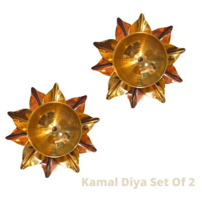 Pure Copper And Brass Kamal Akhand Jyoti Diya. Set Of 2