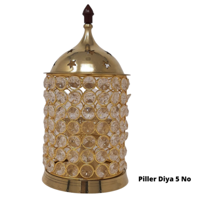 Crystal Akhand Jyoti Brass Diya/Lamp. |  with Cover (No.5)