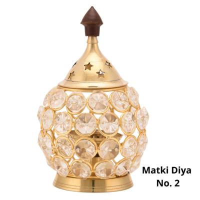 Matki Crystal Akhand Jyoti Brass Diya with Lid (N0.2)