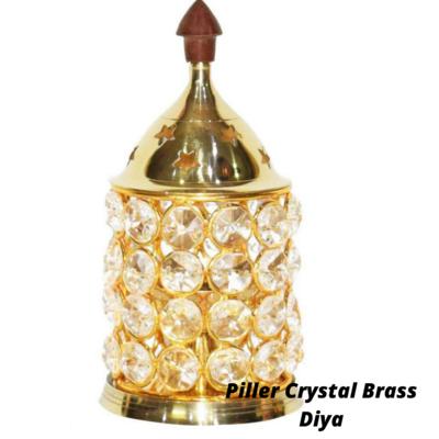 Piller Crystal Akhand Jyoti Brass Diya/Lamp. |  with Cover (No.2)