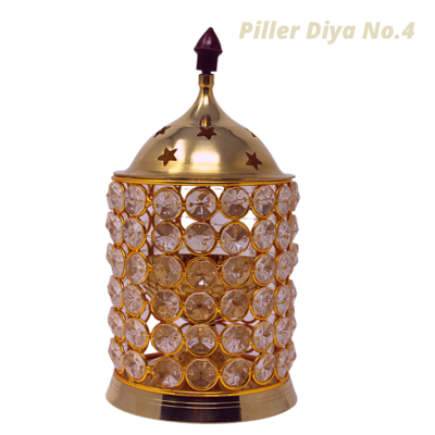 Piller Crystal Akhand Jyoti Brass Diya/Lamp. |  with Cover (No.3)
