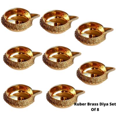Laxmi Kuber Brass Niranjan Diya. Set Of 8.
