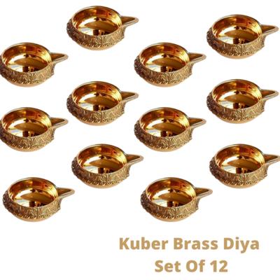 Laxmi Kuber Brass Niranjan Diya. Set Of 12.