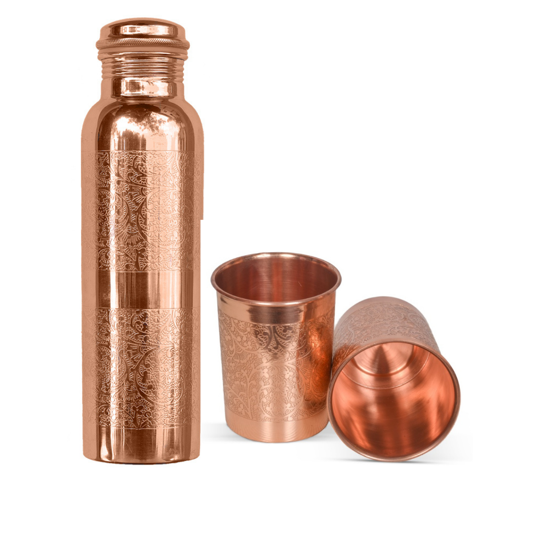 Embossed Copper Bottle 950ml With Two Glasses (Gift Set)