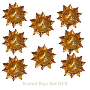 Pure Copper And Brass Kamal Akhand Jyoti Diya. Set Of 8