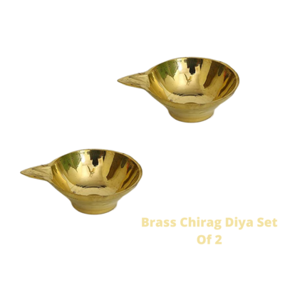 Laxmi Kuber Brass Niranjan Plain Diya. Set Of 2.