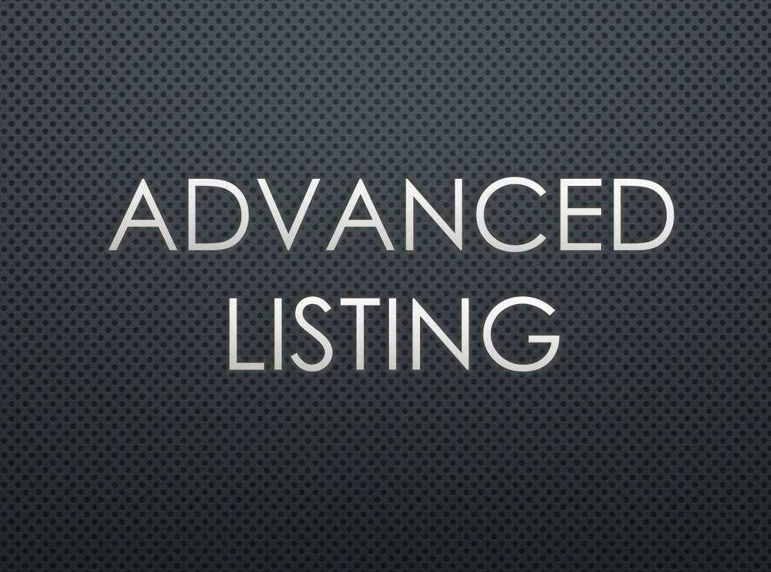 Advanced Listing