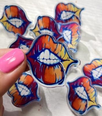 Pierced lip acrylic pins