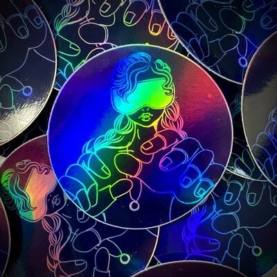 VR Girl holographic sticker