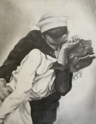 Famous Navy kiss in pencil