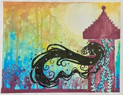 Rapunzel's tower painting