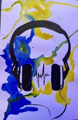 Watercolor headphone silhouette