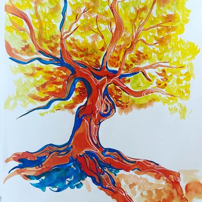 Inked Fall Tree