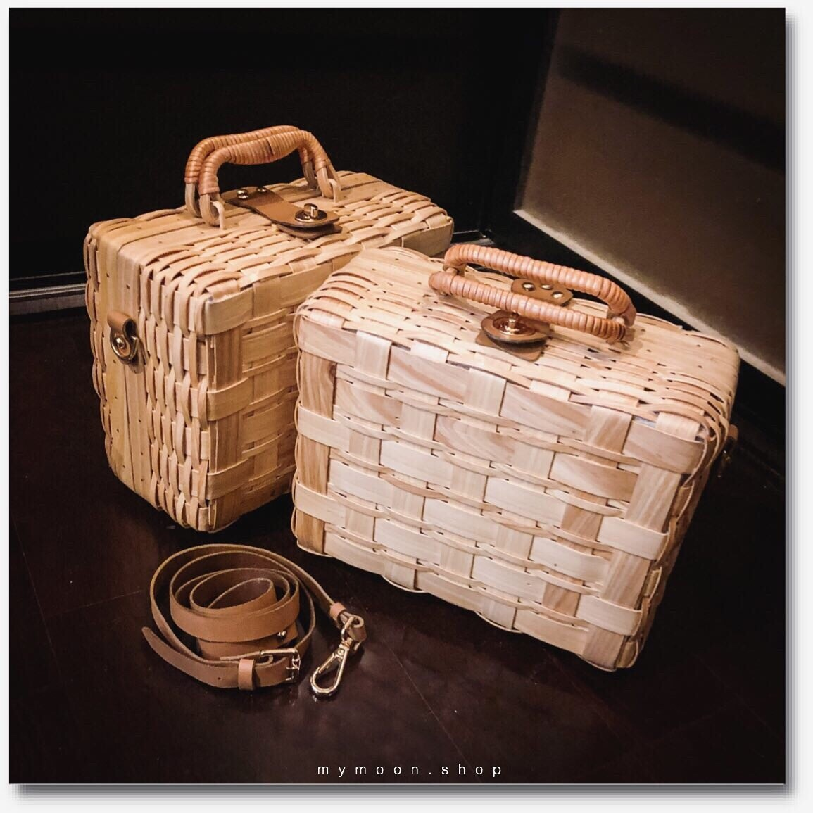 Bamboo woven Suitcase Small size 24cm handle and genuine leather shoulder strap