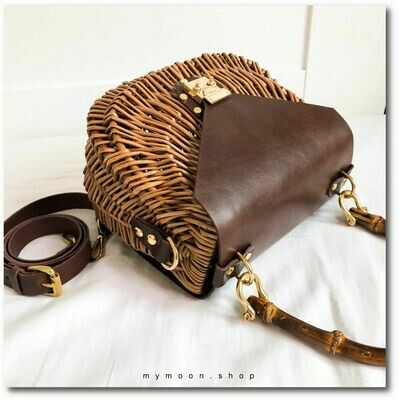 "Willow woven handle and shoulder bag ""Cowhide LEATHER"""