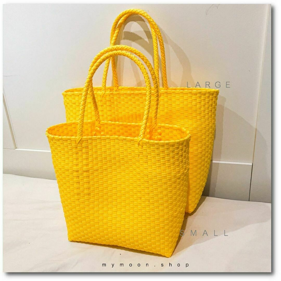 Acrylic PE woven tote bag Yellow Color