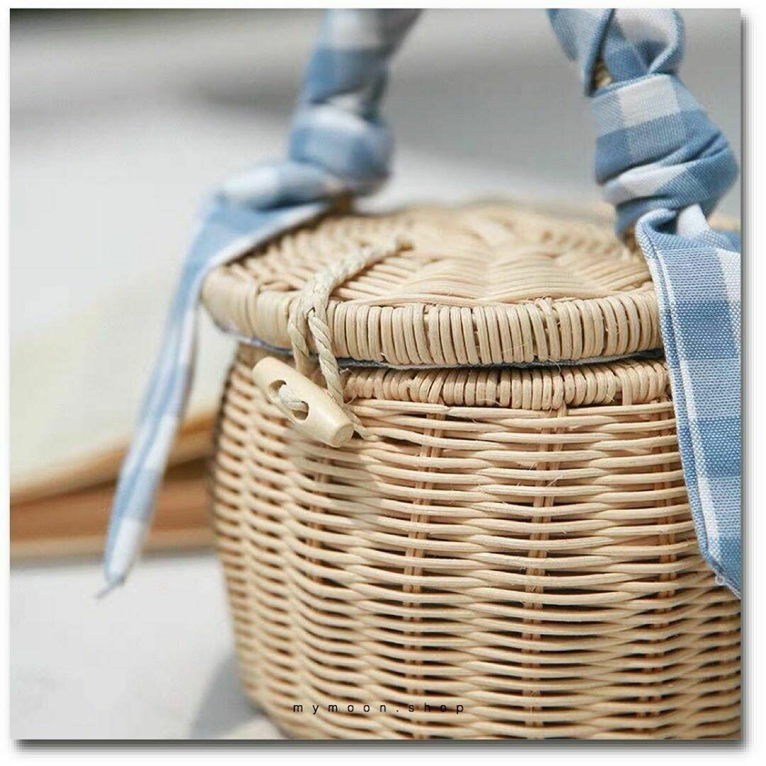 Rattan Bag Handbag and crossbody bag Barrel-shaped with plaid lining and scarf handle
