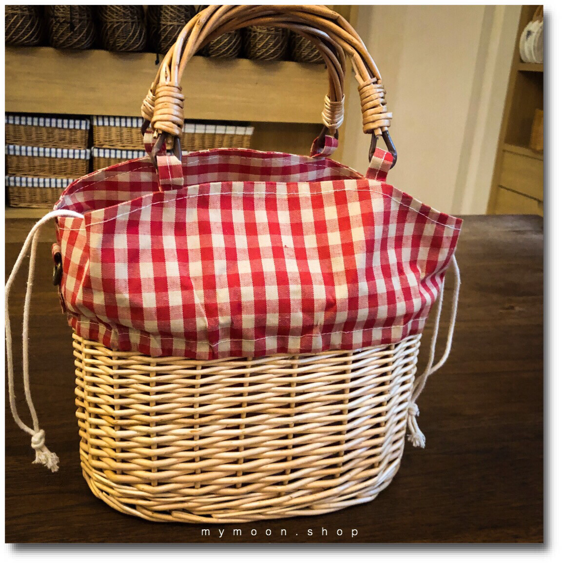 Willow Woven Handle And Shoulder Bag With Red Brown Check Cloth
