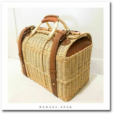 Cowhide Rattan Woven Bag Speed shape size XL