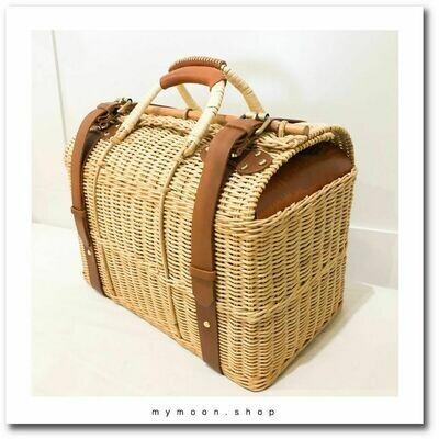 Cowhide Rattan Woven Bag Speed shape size XL