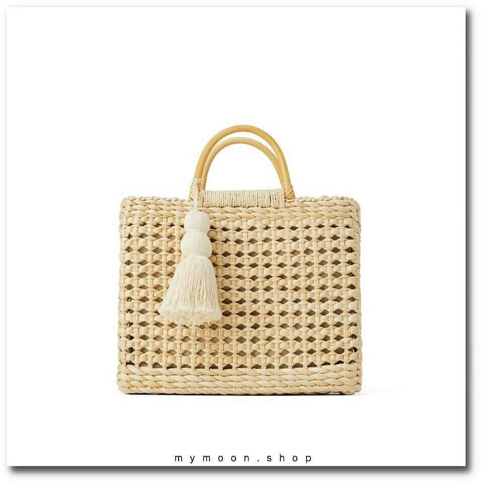 Handmade Straw Handbag and Shoulder Bag with tassel