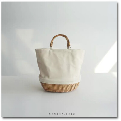 Willow Woven bag combination with fabric stitching