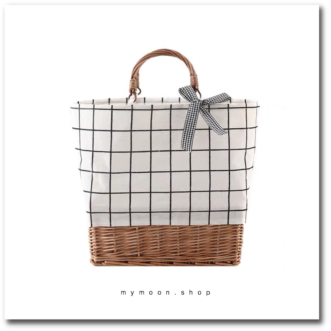 Willow Woven bag combination with fabric stitching ลายตารางขาวดำ
