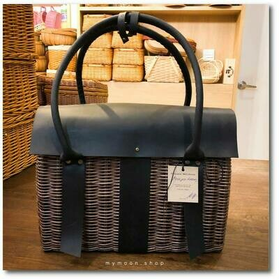 Wicker Handle Bag with genuine leather