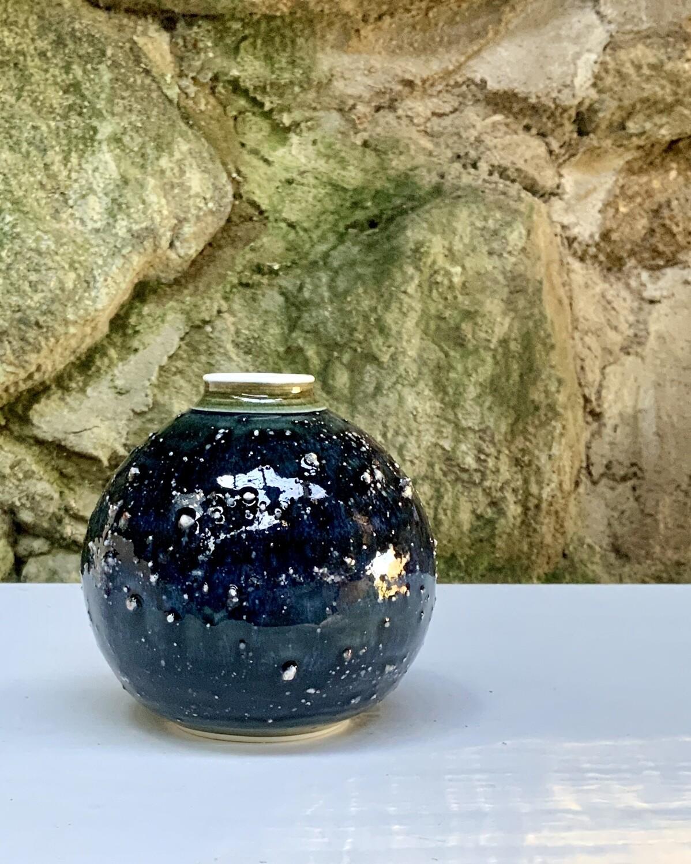 Granite series bottle/vase with green/blue glaze