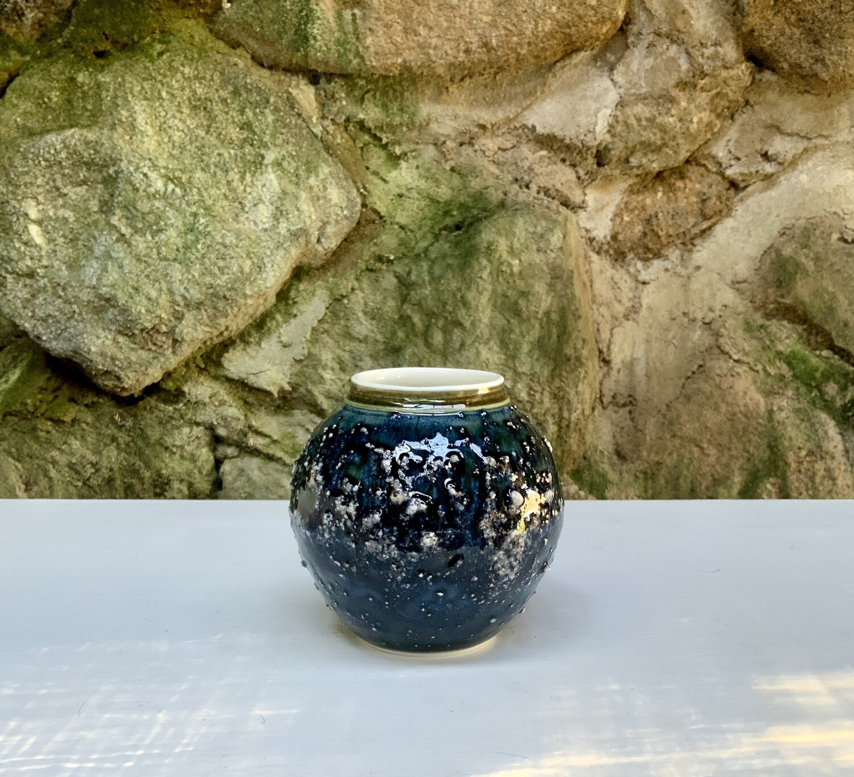 Dartmoor granite series vase with blue/green glaze