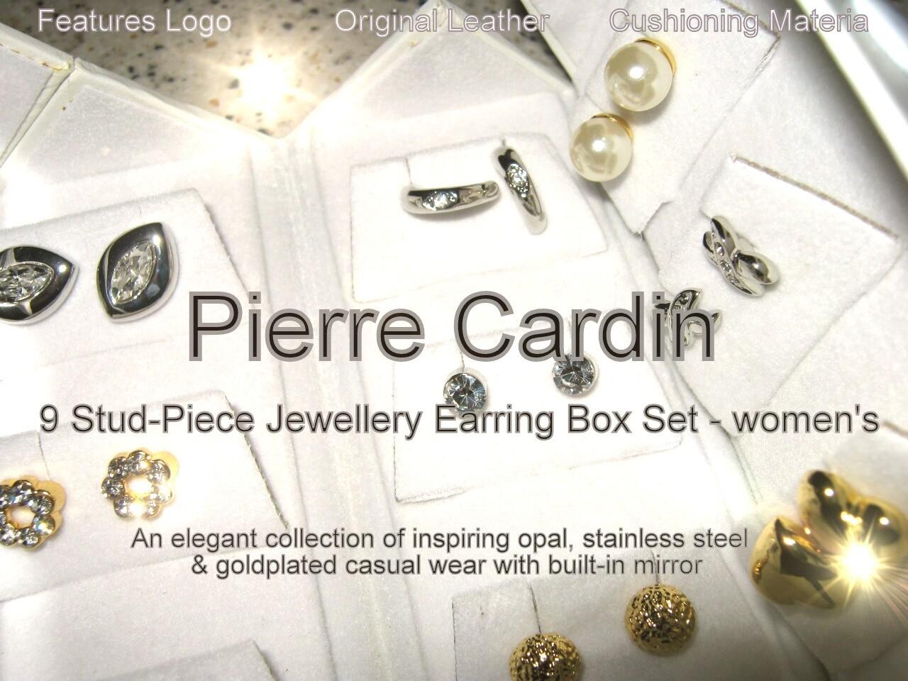 Pierre Cardin 9 Stud Piece Earring Box Set - women's