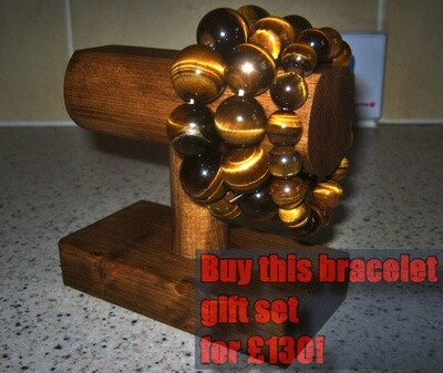 Natural Tiger Eye Stone Bracelet 3x Gift Set £130!