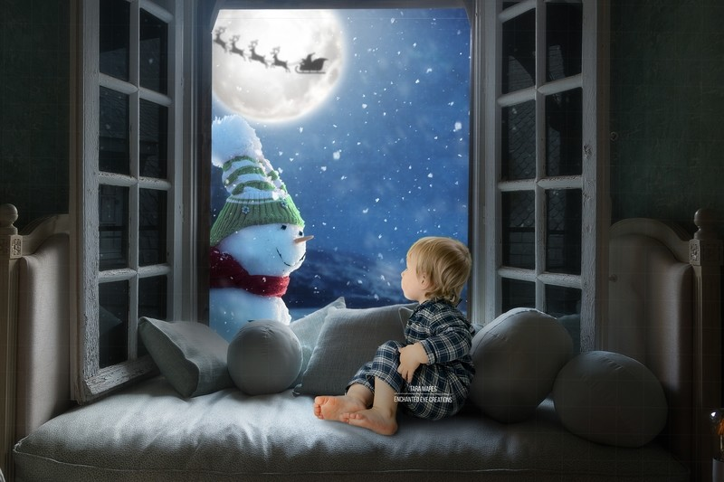 Christmas Window with Frosty the Snowman Digital Background