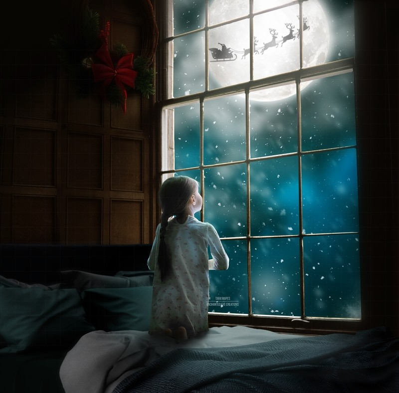 Christmas Big Window Santa in Moon Digital Background