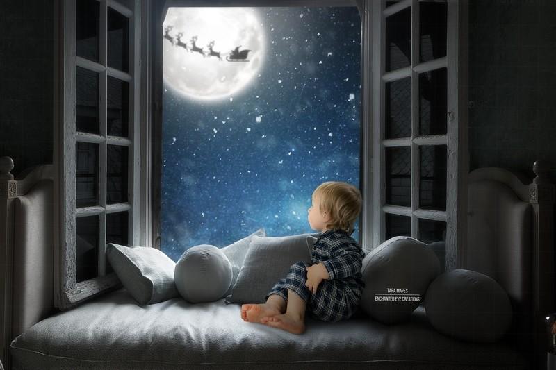 Christmas Window Seat Santa in Moon Digital Background
