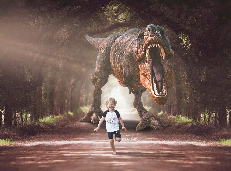 Dinosaur T-Rex Chasing In Jurassic Park Digital Background