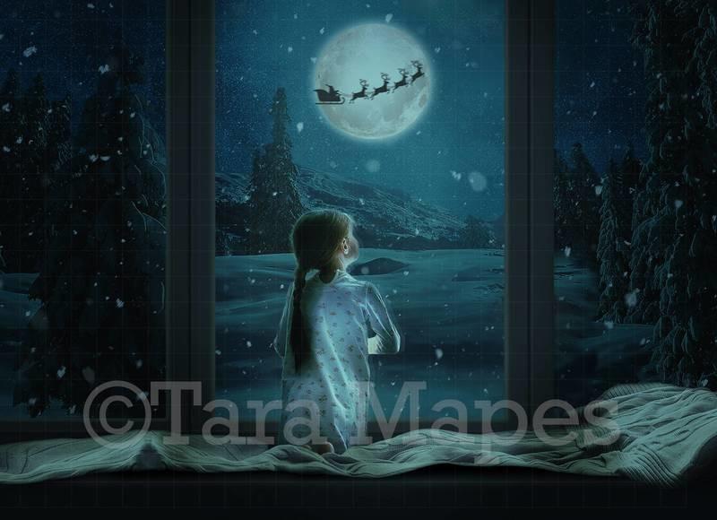 Christmas Window Santa in Moon Digital Background