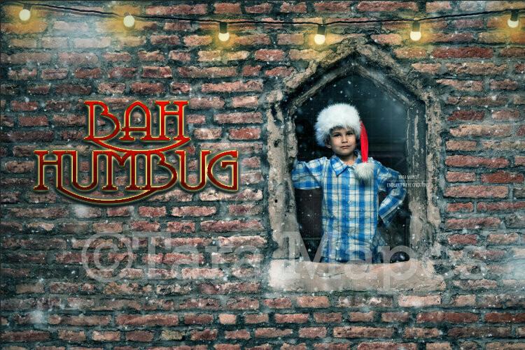 Christmas Bah Humbug - Brick Window Layered PSD File Digital Background Backdrop
