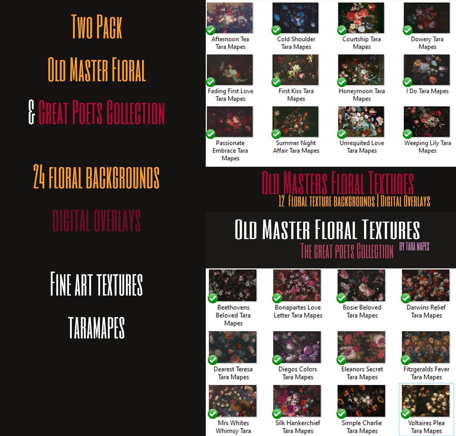 BUNDLE TEXTURES 2 PACK of Old Masters Floral Textures Photoshop Overlays by Tara Mapes