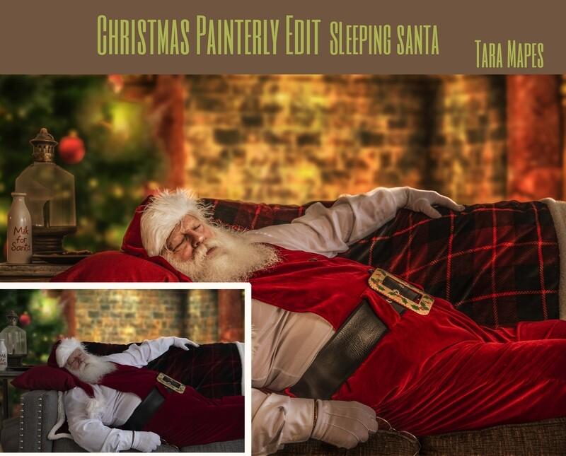 Christmas Edit - Painterly Sleeping Santa Photoshop Tutorial - Painterly Fine Art Photoshop Tutorial by Tara Mapes