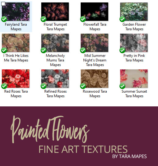 12 Painted Flowers Fine Art Textures - Digital Backgrounds - PAINTED FLOWERS - Photoshop Overlays by Tara Mapes