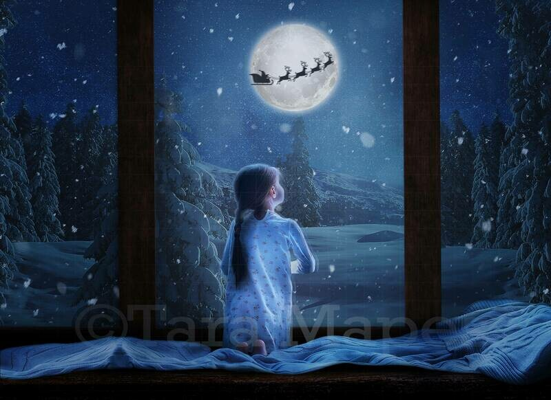 Christmas Window - Christmas Window with Santa in the Moon- Cozy Holiday Window -  Digital Background Backdrop by Tara Mapes